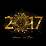 Feliz Año Nuevo 2017 Ejemplo del vector con el reloj del oro Imagen de archivo