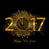 Feliz Año Nuevo 2017 Ejemplo del vector con el reloj del oro Fotos de archivo libres de regalías