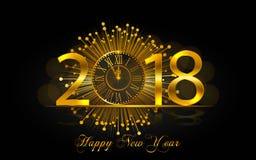 Feliz Año Nuevo 2017 Ejemplo del vector con el reloj del oro Foto de archivo