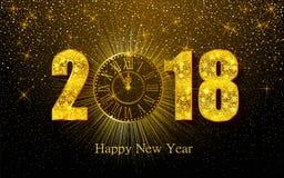 Feliz Año Nuevo 2017 Ejemplo del vector con el reloj del oro Fotografía de archivo libre de regalías