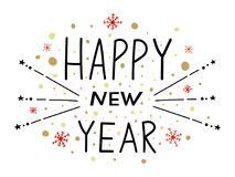 Feliz Año Nuevo Ejemplo del vector con la composición de las letras Etiqueta de la Feliz Año Nuevo Cartel de la tarjeta de felici stock de ilustración
