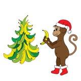 Feliz Año Nuevo 2016, el mono con los plátanos Imágenes de archivo libres de regalías