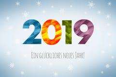 Feliz Año Nuevo 2019 en alemán stock de ilustración