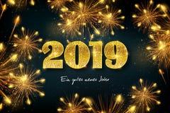Feliz Año Nuevo 2019 en alemán ilustración del vector