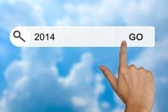 Feliz Año Nuevo 2014 en barra de la búsqueda Imágenes de archivo libres de regalías