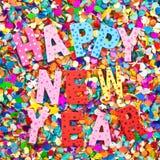 Feliz Año Nuevo en caracteres de madera coloridos Imagenes de archivo