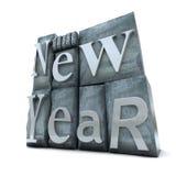 Feliz Año Nuevo en carta de la impresión Imagen de archivo