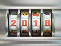 Feliz Año Nuevo 2018 en casino Máquina tragaperras con el número 2018 Imagen de archivo