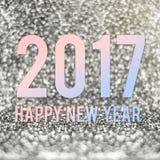Feliz Año Nuevo 2017 en color material en el glitt chispeante de la plata Fotos de archivo