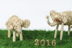 Feliz Año Nuevo 2016 en concepto de la hierba verde Fotografía de archivo libre de regalías