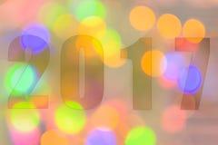 Feliz Año Nuevo 2017 en el bokeh abstracto de la luz Foto de archivo libre de regalías