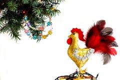 Feliz Año Nuevo 2017 en el calendario chino de la tarjeta de la plantilla del gallo Foto de archivo libre de regalías