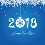 Feliz Año Nuevo 2018 en el ejemplo azul Foto de archivo libre de regalías