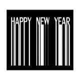 Feliz Año Nuevo en el ejemplo del código de barras Imagen de archivo