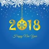 Feliz Año Nuevo 2018 en el ejemplo del oro de la bola de la Navidad Fotos de archivo libres de regalías