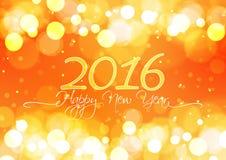 Feliz Año Nuevo 2016 en el fondo anaranjado claro de Bokeh Fotografía de archivo libre de regalías