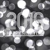 Feliz Año Nuevo 2016 en el fondo eps10 del círculo del bokeh del grayscale Imagen de archivo libre de regalías