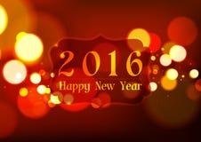 Feliz Año Nuevo 2016 en el fondo rojo claro de Bokeh Foto de archivo