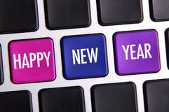 Feliz Año Nuevo en el teclado Imágenes de archivo libres de regalías