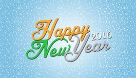 Feliz Año Nuevo 2016 en fondo de las nevadas Fotografía de archivo
