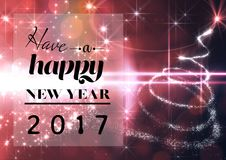 Feliz Año Nuevo 2017 en fondo digital generado Fotografía de archivo libre de regalías
