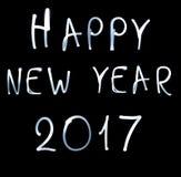 Feliz Año Nuevo 2017 en fondo negro Imagen de archivo libre de regalías