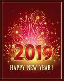Feliz Año Nuevo 2019 en fondo rojo con los fuegos artificiales libre illustration