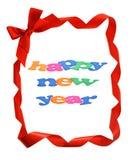 Feliz Año Nuevo en frontera de las cintas del arqueamiento Foto de archivo libre de regalías