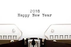 Feliz Año Nuevo 2018 en la máquina de escribir Imagen de archivo libre de regalías