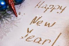Feliz Año Nuevo en la nieve fotografía de archivo