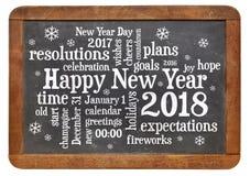 Feliz Año Nuevo 2018 en la pizarra Imagen de archivo