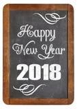 Feliz Año Nuevo 2018 en la pizarra Imágenes de archivo libres de regalías