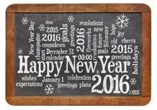 Feliz Año Nuevo 2016 en la pizarra Imagen de archivo libre de regalías