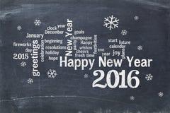 Feliz Año Nuevo 2016 en la pizarra Foto de archivo libre de regalías