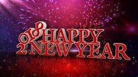 Feliz Año Nuevo 2018 en lazo rojo de las partículas 4K metrajes
