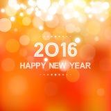 Feliz Año Nuevo 2016 en modelo de la llamarada del bokeh y de la lente en fondo de la naranja del verano Imagen de archivo
