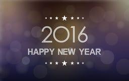 Feliz Año Nuevo 2016 en modelo de la llamarada del bokeh y de la lente en fondo oscuro de la noche Foto de archivo