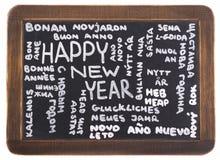 Feliz Año Nuevo en muchas idiomas Fotos de archivo libres de regalías