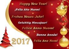 Feliz Año Nuevo 2017 en muchas idiomas Foto de archivo