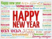 Feliz Año Nuevo en otros idiomas, tarjeta de felicitación Imagenes de archivo