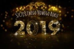 Feliz Año Nuevo 2019 en polaco stock de ilustración