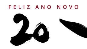 Feliz Año Nuevo 2016 en portugués - caligrafía de la escritura con una tinta china del cepillo - puesta en contraste altamente -  metrajes