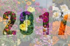 Feliz Año Nuevo 2017 en tema de la flor Imágenes de archivo libres de regalías