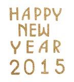 Feliz Año Nuevo 2015 en texto de oro Fotografía de archivo libre de regalías