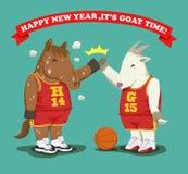 Feliz Año Nuevo, es baloncesto del tiempo de la cabra Fotos de archivo