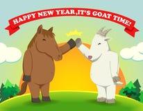 Feliz Año Nuevo, es sol del tiempo de la cabra Imagenes de archivo