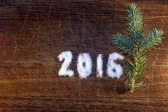 Feliz Año Nuevo 2016 escrita el azúcar Fotos de archivo