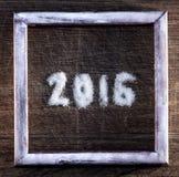 Feliz Año Nuevo 2016 escrita el azúcar Imagen de archivo