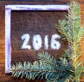 Feliz Año Nuevo 2016 escrita el azúcar Imagenes de archivo