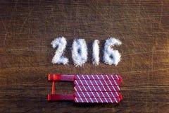 Feliz Año Nuevo 2016 escrita el azúcar Fotos de archivo libres de regalías